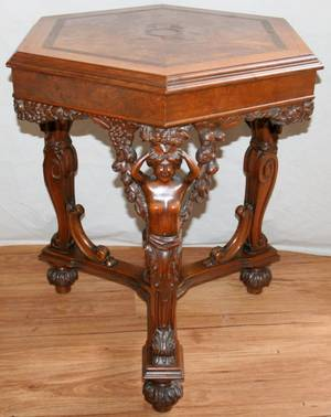 052164 WALNUT AND BURL WALNUT HEXAGONAL TABLE H 30