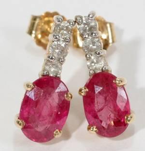 050185 14KT YELLOW GOLD DIAMOND  RUBY EARRINGS