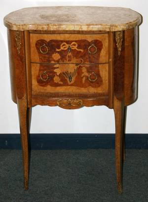 042212 LOUIS XV STYLE MARBLE SMALL COMMODE H 30