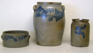 Stoneware crock with cobalt leaf decoration