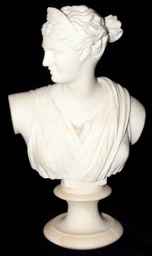 041236 WHITE MARBLE BUST OF DIANA H 14 W 8