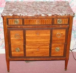 022130 FRENCH FRUITWOOD INLAID COMMODE C 18001820