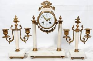021191 LOUIS XVI STYLE MARBLE  BRONZE CLOCK GARNITURE