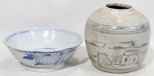 020178 CHINESE BLUEWHITE PORCELAIN BOWL  GINGER JAR