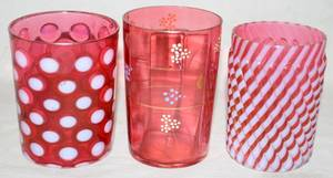 011268 VICTORIAN CRANBERRY GLASS TUMBLERS 3 C 1870