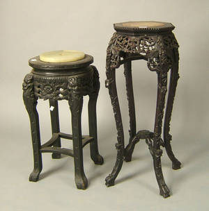 Two Chinese marble top stands