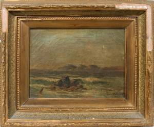 052206 LOUIS DE HILAS OIL ON CANVAS SEASCAPE 1883
