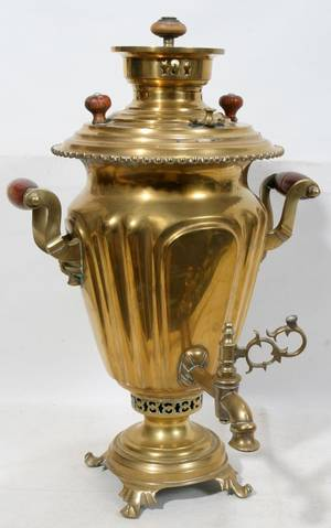 051325 RUSSIAN BRASS SAMOVAR C 1900 H 19 W 12