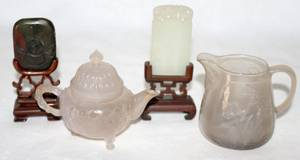 051301 CHINESE HARD STONE CARVINGS  GLASS VESSELS