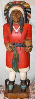 050215 CIGAR STORE INDIAN CHIEF PAINTED CARVED WOOD