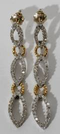 050186 14KT TWOTONE GOLD AND DIAMOND DROP EARRINGS