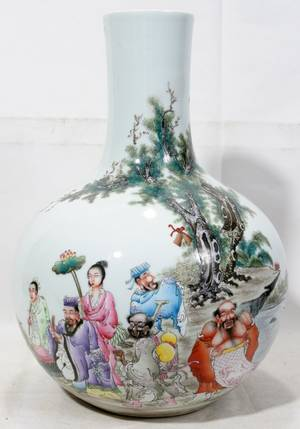 042259 LARGE CHINESE PORCELAIN VASE WITH INSCRIPTION