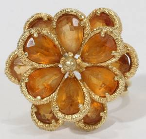 041296 FLORIFORM TOPAZ  YELLOW GOLD RING SIZE 55