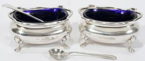 041272 ENGLISH SILVER PAIR OF SALTS  SPOONS 191415
