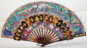 031231 CHINESE FAN 19TH C W 16 OPEN HAND PAINTED