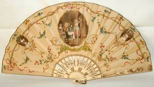 031226 FRENCH FAN 19TH C W 17 OPEN