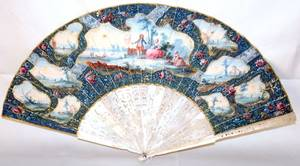 031223 FRENCH PAINTED FAN 19TH C W 22 OPEN