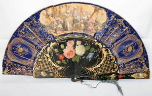 031222 FRENCH PAINTED  LACQUER FAN 19TH C W 21 OPEN