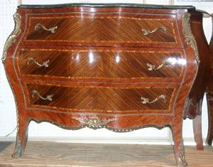022191 LOUIS XV STYLE MARBLE TOP COMMODE H 34 D 21