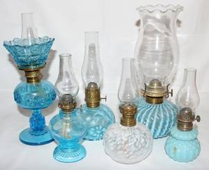 011271 VICTORIAN GLASS OIL LAMPS 6 19TH C H 610