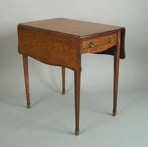 George III burl veneer pembroke table late 18th c