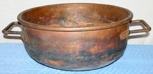 010255 HAND HAMMERED DOUBLE HANDLED COPPER CALDRON