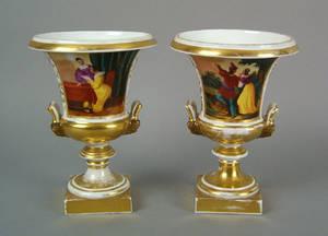 Pair of Paris porcelain campagna form urns ca 1820