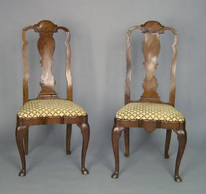 Pair of George II yewwood dining chairs ca 1740