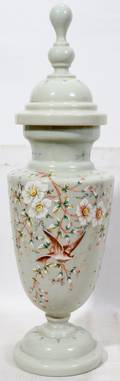 040304 VICTORIAN ENAMELED GLASS COVERED URN 19TH C