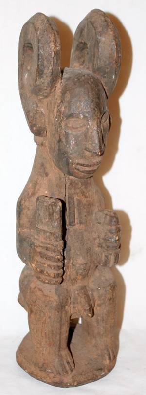 020283 CARVED WOOD MALE CEREMONIAL MASK FROM BENIN