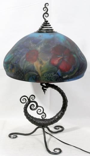 012252 ULLA DARNI ART GLASS TABLE LAMP H 27 DIA 16
