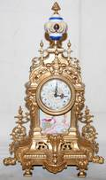 012249 FRENCH STYLE BRASS MANTEL CLOCK H 19 L 12
