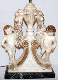 122319 CARVED WHITE MARBLE PUTTI CENTERPIECE CONVERTED