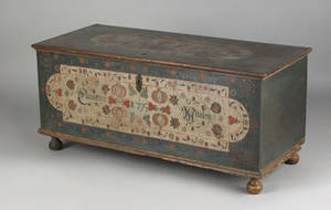 Lancaster County Pennsylvania painted dower chest dated 1795 by the Embroidery artist