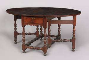 Large Southeastern Pennsylvania William  Mary walnut gateleg dining table ca 1730