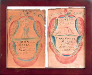 Pair of Pennsylvania watercolor and ink on paper bookplates for John Monks 1791 and Mary Frost Monks 1793