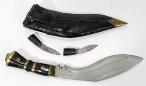 020332 GURKHA KUKRI KNIFE AND SHEATH L 6 BLADE