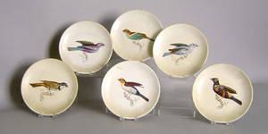 Set of 6 Italian porcelain plates with bird decoration