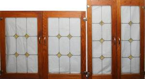 011359 LEADED GLASS WINDOWS TWO PAIRS 37 X 10