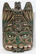 010315 PACIFIC NORTHWEST COAST CARVED WOOD TRIBAL MASK