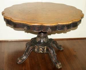 051419 ENGLISH WALNUT PEDESTAL TABLE H 28 DIA 44