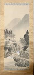 050354 JAPANESE HAND PAINTED SCROLL EARLY 1900S