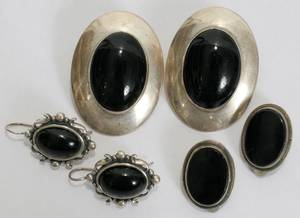 041387 MEXICAN STERLING  BLACK ONYX EARRINGS 3 PRS