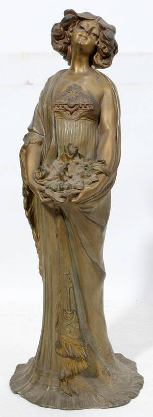 032363 ART NOUVEAU GILT SPELTER SCULPTURE OF A WOMAN