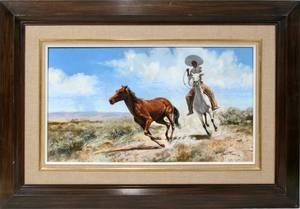 032333 DAVID E FERN OILMASONITE 16 X 27 HORSE CHASE