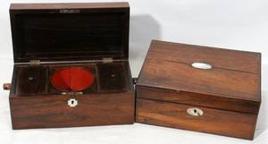 031388 EARLY VICTORIAN ROSEWOOD TEA CADDY  LAP DESK