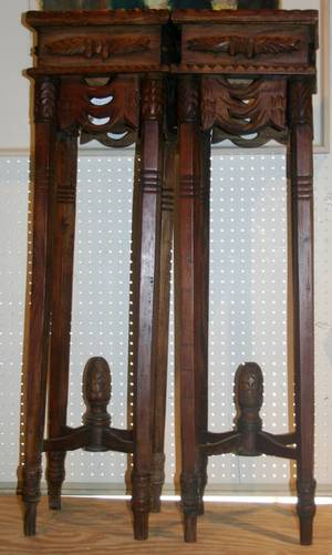 022304 CHINESE CARVED TEAK PEDESTALS PAIR H 43