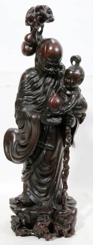 051471 CHINESE CARVED WOOD SCULPTURE H 18