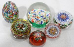041459 MILLEFLEUR BLOWN GLASS PAPERWEIGHTS  ONE OTHER