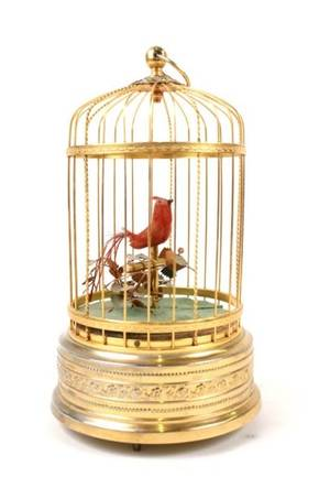 Red Feathered Caged Bird Automaton 20th C